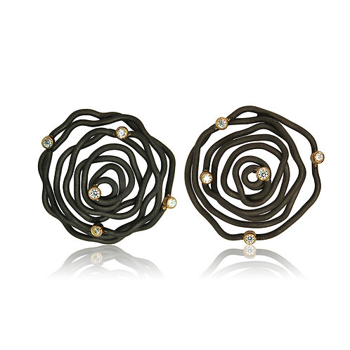 Handmade Designer Oxidised Steel, 9ct Gold and CZ Earrings
