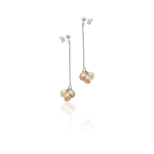 Sterling Silver Fresh Water Pearl Cluster Drop Earring