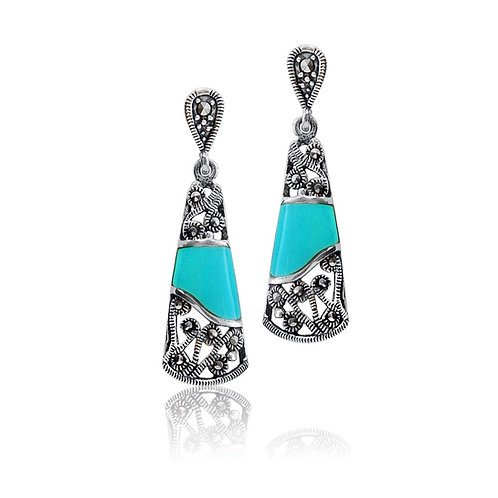Silver Marcasite and Turquoise Cone Drop Earrings