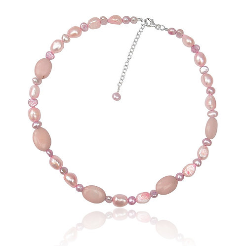 Boho Sterling Silver, Pink FW Pearl and Rose Quartz Necklace