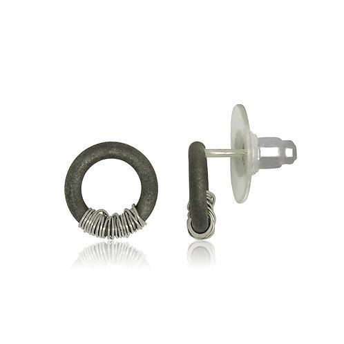 Handmade Designer Oxidised Steel with Sterling Silver Stud Earring
