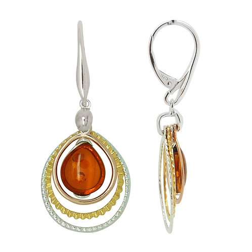 Sterling Silver Amber within a Triple Loop Drop Earring