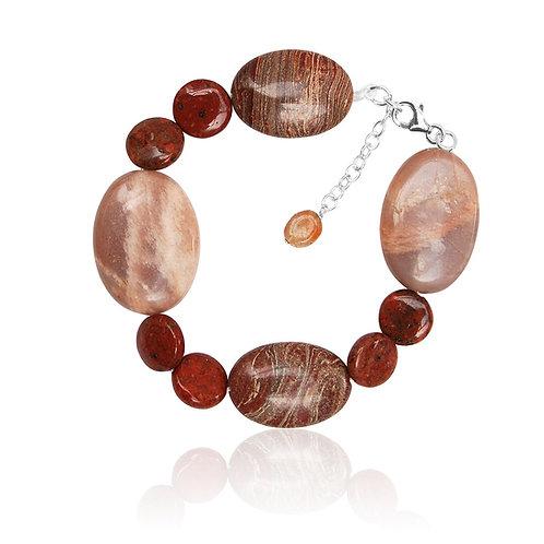 Boho Silver, Jasper, Sun Stone and Sand Stone Bracelet