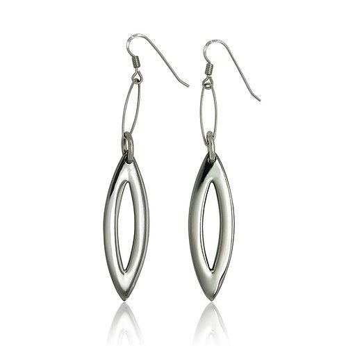 Sterling Silver Open Marquise Earrings