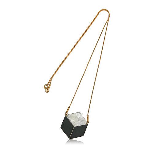 Handmade Designer Oxidised Silver 3D Cube Necklace