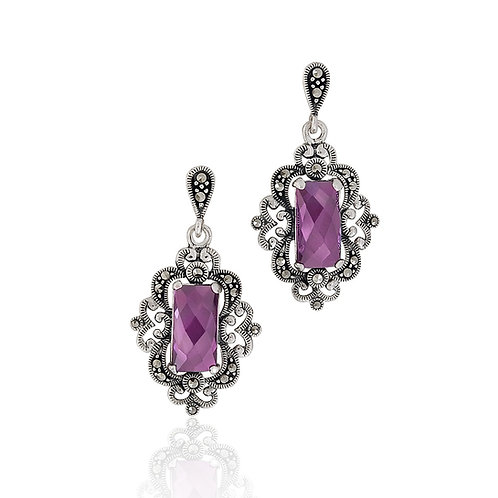 Silver Marcasite and lavender CZ drop Earrings