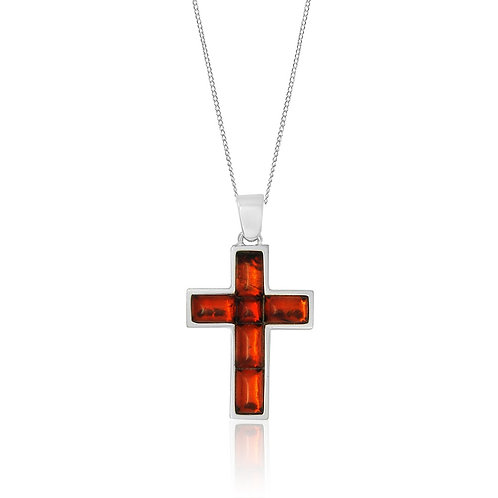 Sterling Silver and 5 Part Amber Cross Pendant