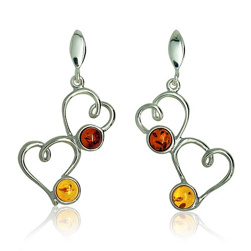 Silver Lemon and Cognac Stone in Twin Heart Drop Earrings