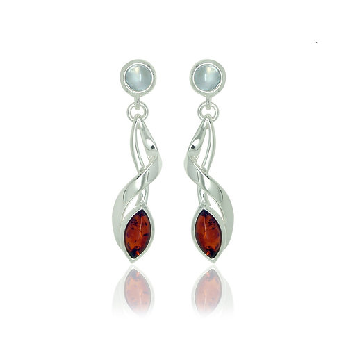 Sterling Silver Amber and Moonstone Twist Drop Earrings