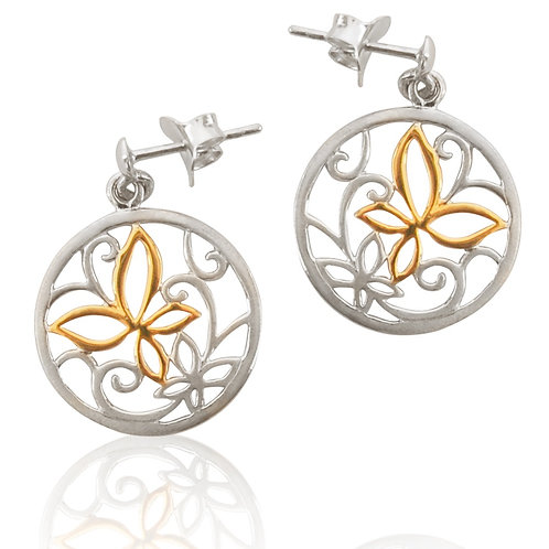 Sterling Silver Goldplated Butterfly Drop Earrings