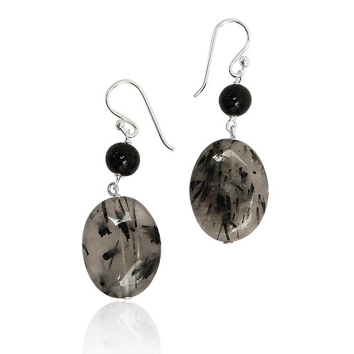 Boho Sterling Silver, Black Agate and Tourmalinated Quartz Earrings