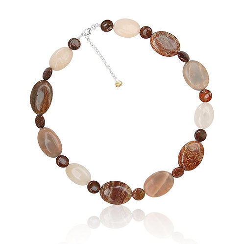 Boho Silver, Jasper, Sun stone and Sandstone Necklace