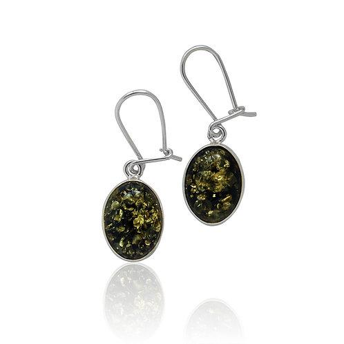 Sterling Silver Green Amber Oval Drop Earrings