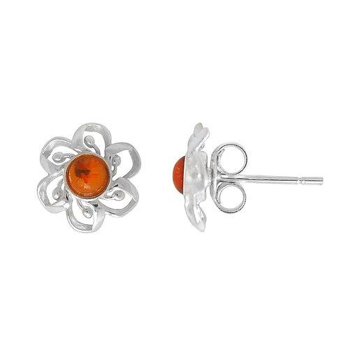Sterling Silver Amber Flower Stud Earring