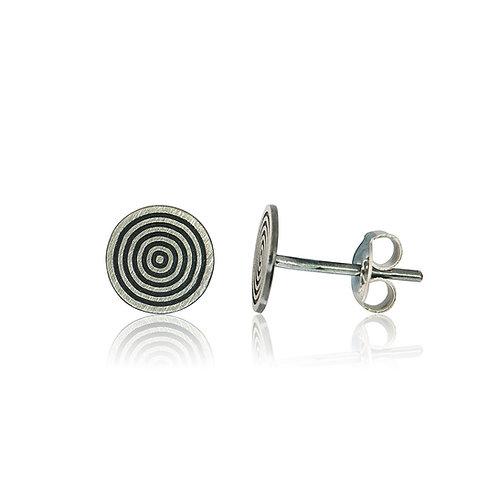 Handmade Designer Sterling Silver Brushed Circles Stud Earring