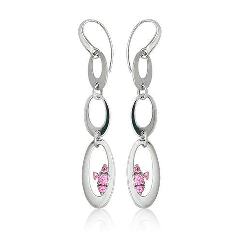 Sterling Silver Loop Cubic Zirconia Drop Earring