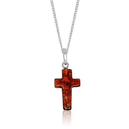 Sterling Silver Amber Cross Pendant