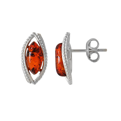 Sterling Silver Amber Marquise Stud Earrings