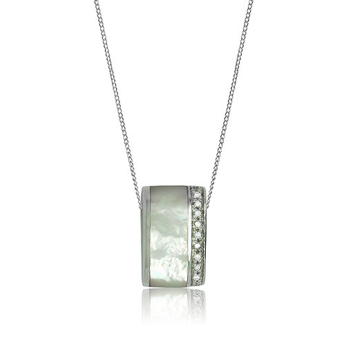 Sterling Silver Rectangular Mother of Pearl and CZ Pendant