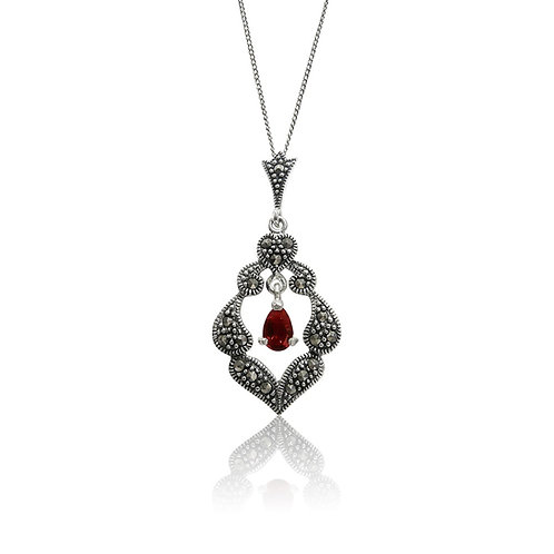 Silver Marcasite and Red Cubic Zirconia Pendant