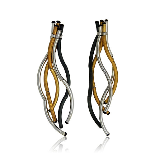 Handmade Designer Oxidised Silver and Goldplated Curl Earrings