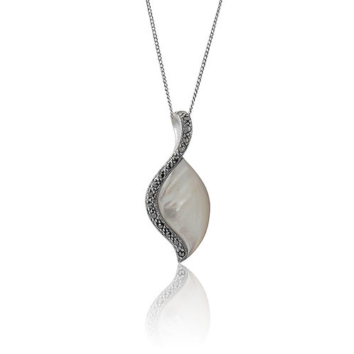 Silver Marcasite and white Mother of Pearl marquise Pendant