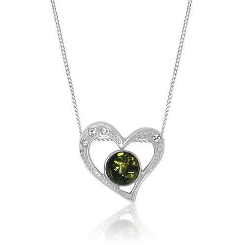 Sterling Silver Green Amber and Cubic Zirconia Heart Pendant