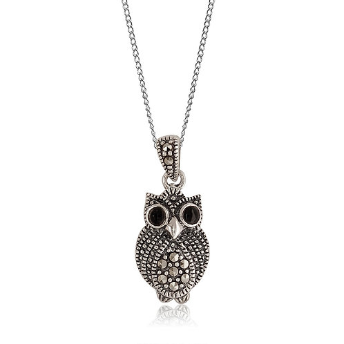 Silver Marcasite and Black Agate owl Pendant