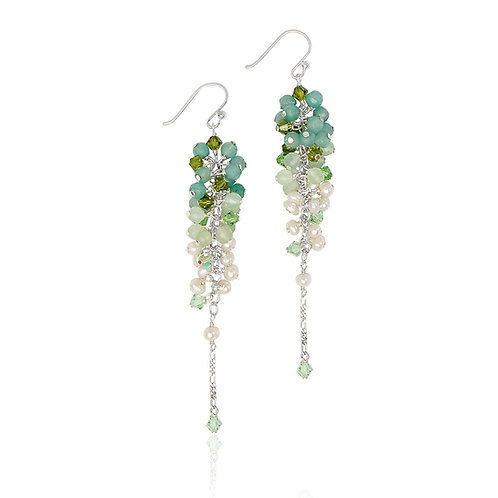 Boho Silver, Amazonite, Peridot, Aventurine and Fwp Earrings