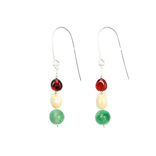 Sterling Silver with Amber and Jade Bead Drop Earrings