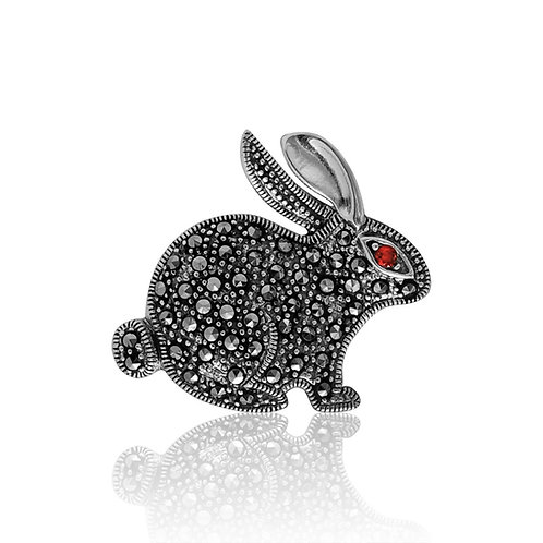 Silver Marcasite and Garnet Bunny Brooch