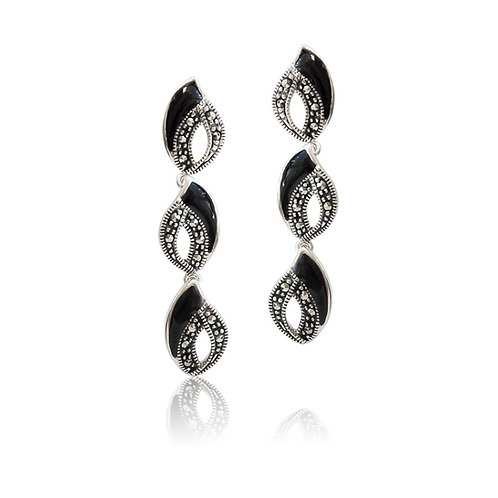 Silver Marcasite and Black Agate drop Earrings