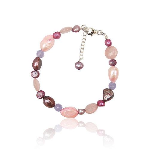 Boho Silver Jade, Fwp and Rose Quartz Bracelet
