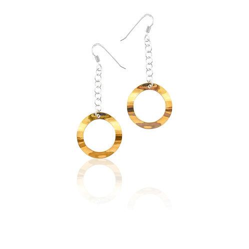 Sterling Silver Goldplated Single Hoop Drop Earrings