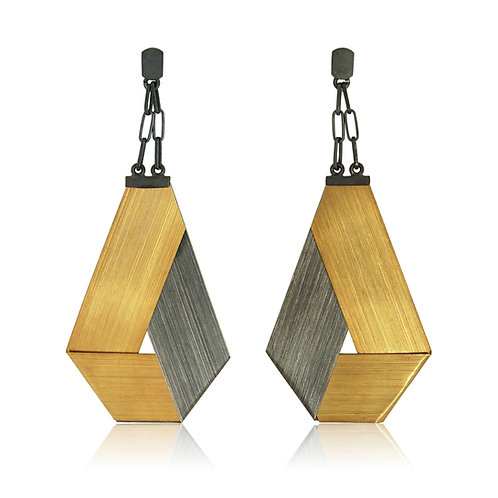 Handmade Designer Oxidised Silver and Gold plated Earrings