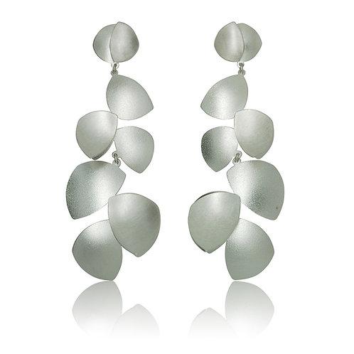 Handmade Designer Sterling Silver Cluster Petal  Drop Earrings