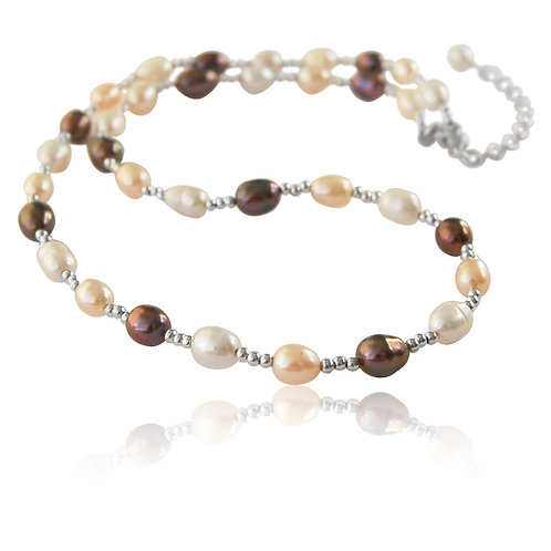 Sterling Silver with Multicoloured Fresh Water Pearl Collar