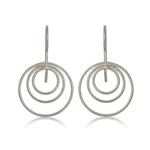 Sterling Silver Excentric Circles drop Earrings