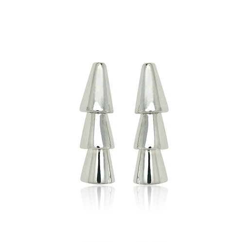 Sterling Silver Triple Cone Drop Earring