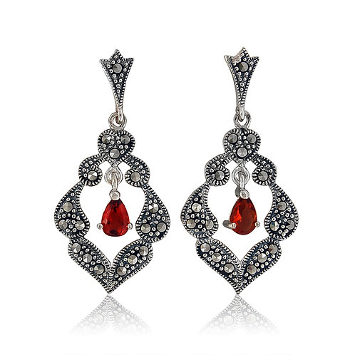 Silver Marcasite and Red CZ drop Earrings
