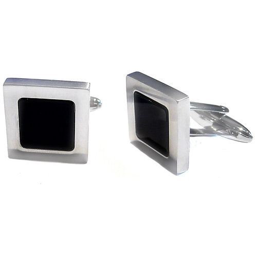 Stainless Steel Onyx Square Cufflinks
