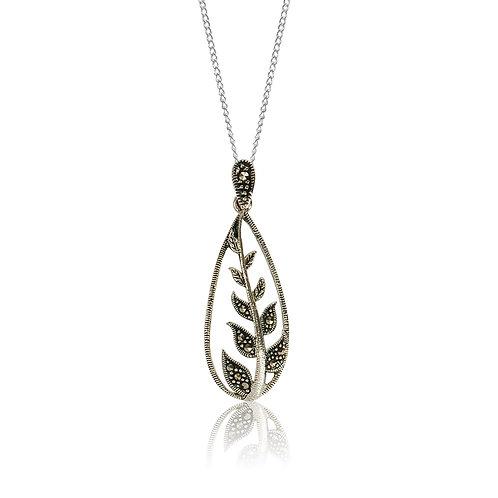 Silver Marcasite Leaf Pendan