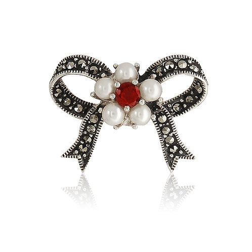 Silver Marcasite Fresh Water Pearls and Garnet CZ Bow Brooch