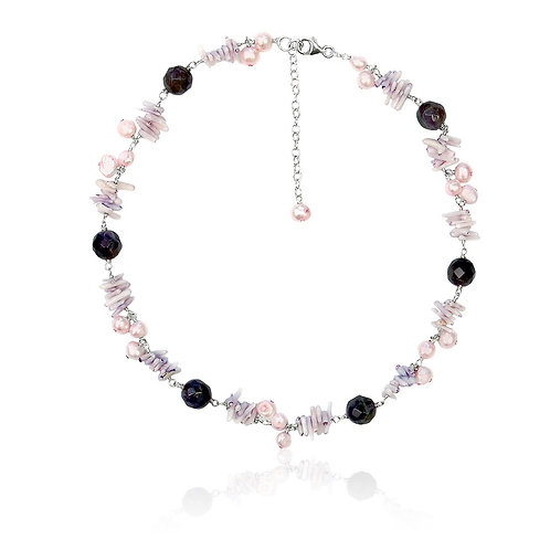 Boho Silver, Amethyst, Coral and Fwp Necklace
