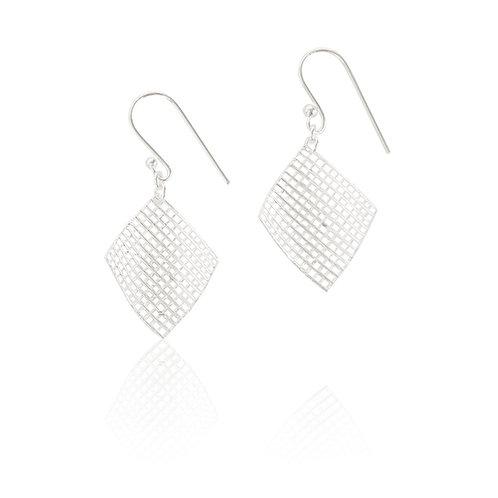 Sterling Silver Curved Net Drop Earring