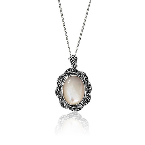 Silver Marcasite and Mother of Pearl Pendant