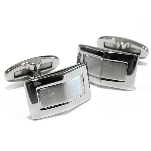 Stainless Steel Rectangular Pressed Cufflinks