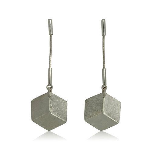 Handmade Designer Silver 3D Cube Earrings