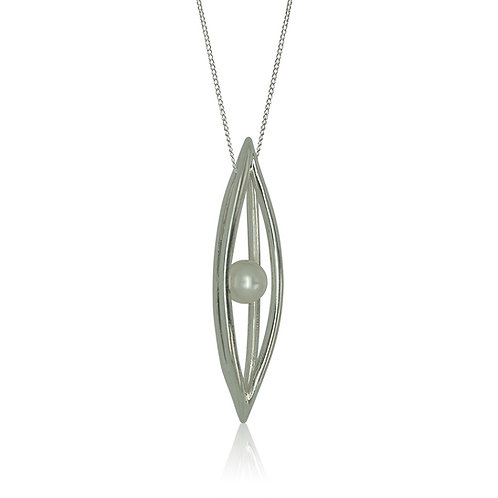 Sterling Silver Cage with Single FW Pearl Pendant