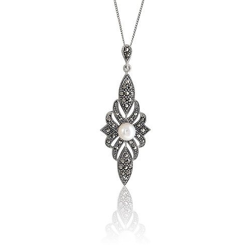 Silver Marcasite and Fresh Water Pearl Pendant